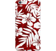 Tropical flowers red and white pattern iPhone Case/Skin