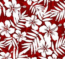 Tropical flowers red and white pattern by 1enchik
