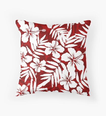 Tropical flowers red and white pattern Throw Pillow