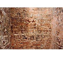 Reliefs at Pasat Kravan - Angkor, Cambodia. Photographic Print