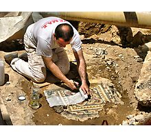 archaeological diggings in street Photographic Print