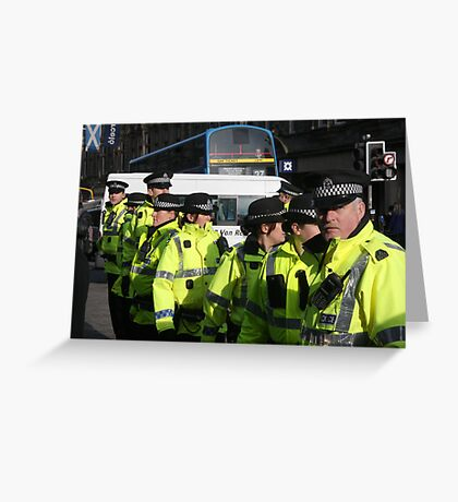 cops at anti-fascist march Greeting Card