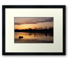 Gloaming - Subtle Pink, Lavender and Orange at the Lake Framed Print