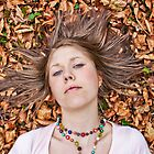 Girl on Leaves by Anna Leworthy