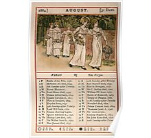 Kate Greenaway Almanack 1880 0014 August Poster
