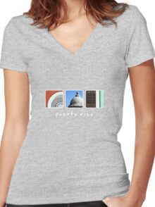 puerto rico 3 Women's Fitted V-Neck T-Shirt