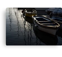 Charming Old Wooden Boats in the Harbor Canvas Print