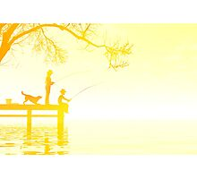 Father and son fishing Photographic Print