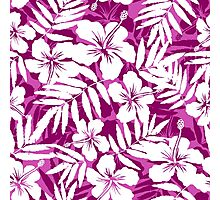 Tropical flowers pink and white pattern Photographic Print