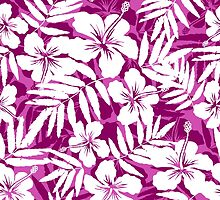 Tropical flowers pink and white pattern by 1enchik
