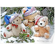 Three  Teddy Bear friends  in snow. Erasmus, Vintage and Little Red Panda  Bear Poster