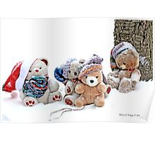 Four Teddy Bears  playing in snow. Erasmus, LRP, Vintage and Fatso Poster
