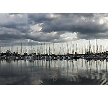 Yachts and Sailboats - the Silvery Calmness of Grays Photographic Print