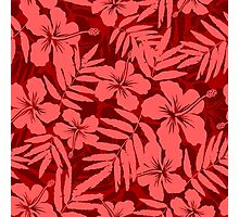 Red tropical flowers silhouettes pattern Photographic Print