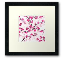 Pink cherry blossoms Oriental Sakura watercolor  Framed Print