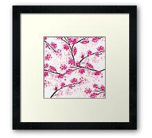 Pink cherry blossoms Oriental Sakura watercolor  Framed Print