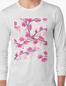 Pink cherry blossoms Oriental Sakura watercolor  Long Sleeve T-Shirt