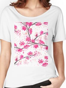 Pink cherry blossoms Oriental Sakura watercolor  Women's Relaxed Fit T-Shirt