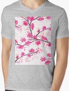 Pink cherry blossoms Oriental Sakura watercolor  Mens V-Neck T-Shirt
