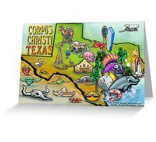 Corpus Christi Texas Cartoon Map Greeting Card