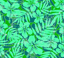 Green tropical flowers silhouettes pattern by 1enchik