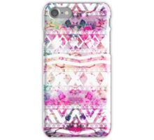 Modern aztec pattern watercolor floral nebula iPhone Case/Skin