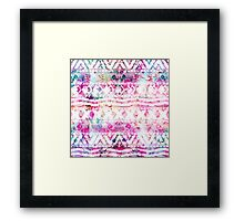 Modern aztec pattern watercolor floral nebula Framed Print