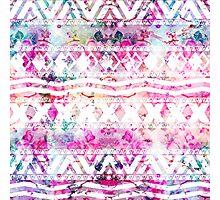 Modern aztec pattern watercolor floral nebula Photographic Print