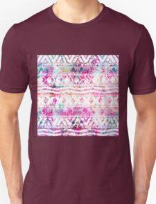 Modern aztec pattern watercolor floral nebula Unisex T-Shirt