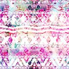 Modern aztec pattern watercolor floral nebula by GirlyTrend
