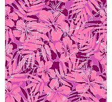 Pink tropical flowers silhouettes pattern Photographic Print