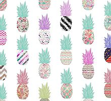 Girly Exotic Pineapple Aztec Floral Pattern by GirlyTrend