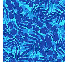 Blue tropical flowers silhouettes pattern Photographic Print
