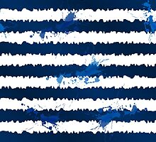 Dark blue ink stripes and splashes seamless pattern by 1enchik