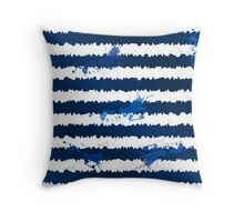 Dark blue ink stripes and splashes seamless pattern Throw Pillow