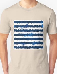 Dark blue ink stripes and splashes seamless pattern Unisex T-Shirt