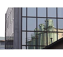 reflected silos Photographic Print