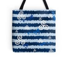 Dark blue grunge paint stripes with white celtic triskels Tote Bag