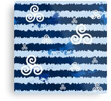 Dark blue grunge paint stripes with white celtic triskels Metal Print