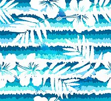 White flowers on blue painted stripes by 1enchik