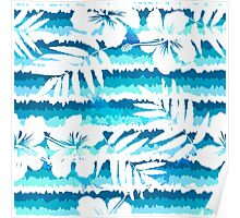 White flowers on blue painted stripes Poster