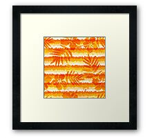 Orange bright flowers and grunge stripes Framed Print