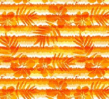Orange bright flowers and grunge stripes by 1enchik