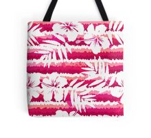 White flowers and grunge pink stripes Tote Bag
