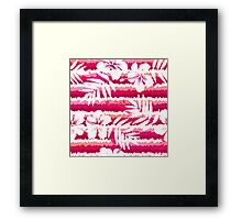White flowers and grunge pink stripes Framed Print