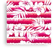White flowers and grunge pink stripes Canvas Print