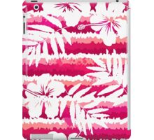White flowers and grunge pink stripes iPad Case/Skin