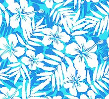 Blue and white tropical flowers silhouettes by 1enchik