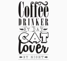 Coffee drinker by day, cat lover by night. Kids Tee