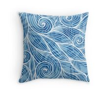 Light blue hair curly waves Throw Pillow